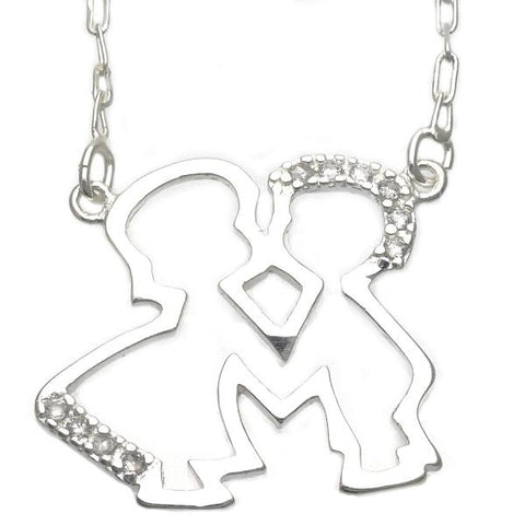 Sterling Silver 04.203.0007.18 Basic Necklace, Little Boy and Little Girl Design, with White Cubic Zirconia, Silver Tone