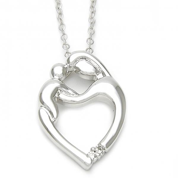 Sterling Silver 10.174.0165.18 Fancy Necklace, Heart Design, with White Cubic Zirconia, Polished Finish, Silver Tone