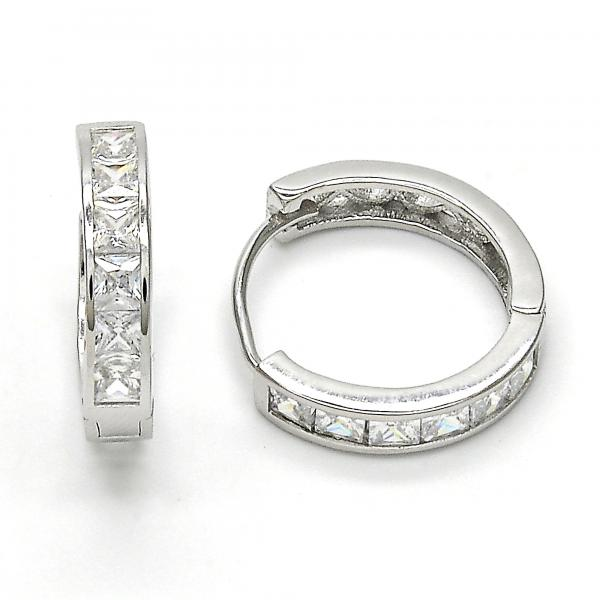 Sterling Silver 02.174.0054.20 Huggie Hoop, with White Cubic Zirconia, Polished Finish, Rhodium Tone