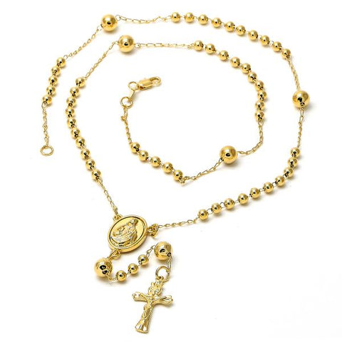 Gold Layered Thin Rosary, Sagrado Corazon de Jesus and Crucifix Design, Golden Tone
