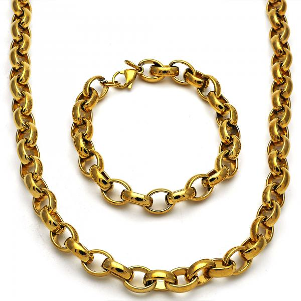 Stainless Steel 06.256.0007 Necklace and Bracelet, Rolo Design, Polished Finish, Golden Tone