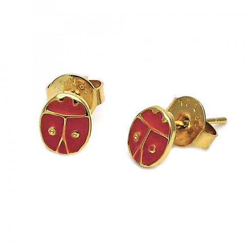 Gold Layered 02.64.0309 Stud Earring, Ladybug Design, Red Enamel Finish, Golden Tone