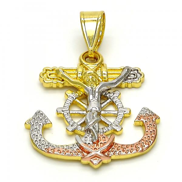 Gold Layered 05.253.0003 Religious Pendant, Crucifix and Anchor Design, Polished Finish, Tri Tone