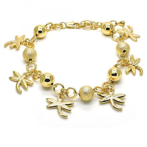 Gold Layered 03.179.0048.10 Charm Anklet , Dragon-Fly Design, Matte Finish, Golden Tone
