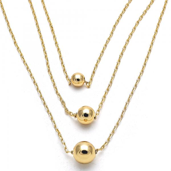 Gold Layered 04.63.1380.16 Fancy Necklace, Ball Design, Polished Finish, Golden Tone