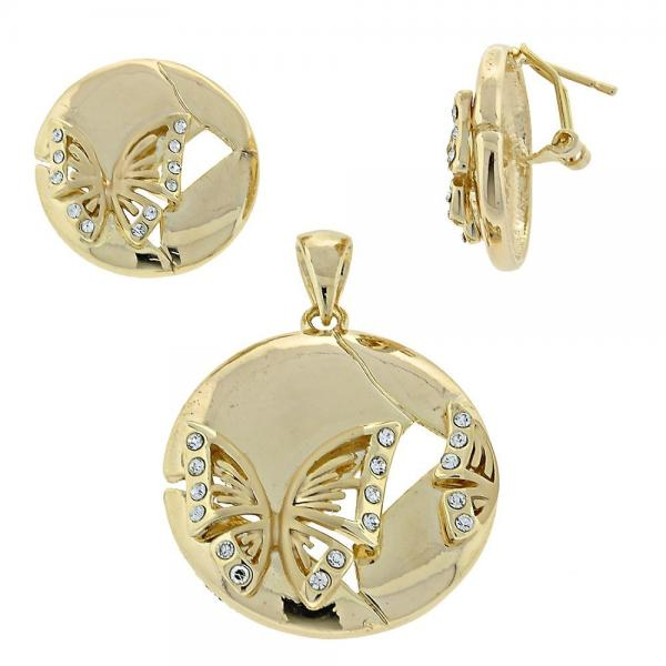 Gold Layered 5.062.006 Earring and Pendant Adult Set, Butterfly Design, with White Crystal, Polished Finish, Golden Tone