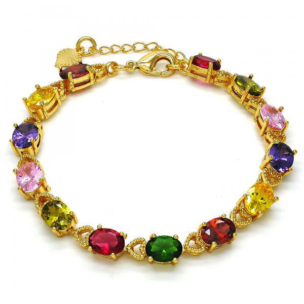 Gold Layered 03.283.0002.07 Tennis Bracelet, Heart Design, with Multicolor Cubic Zirconia, Polished Finish, Golden Tone