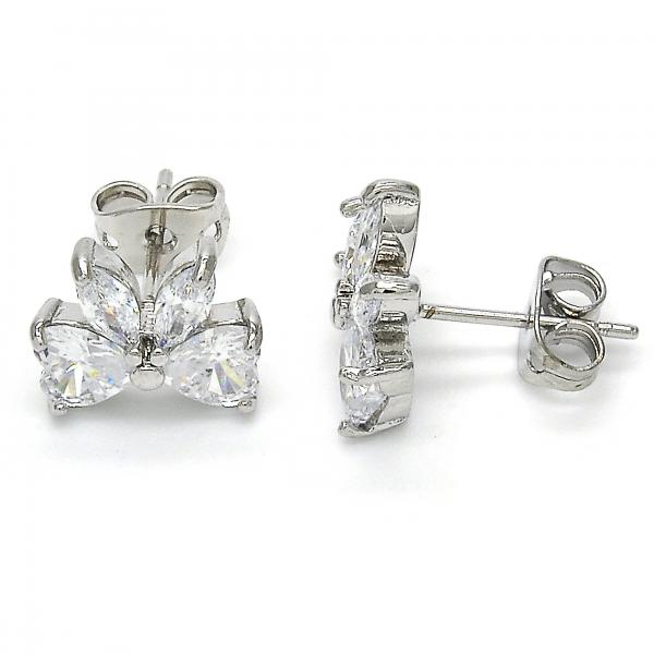 Rhodium Plated 02.213.0092 Stud Earring, Bow Design, with White Cubic Zirconia, Polished Finish, Rhodium Tone