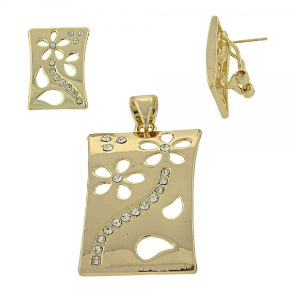 Gold Layered 5.047.005 Earring and Pendant Adult Set, Flower Design, with  Crystal, Golden Tone