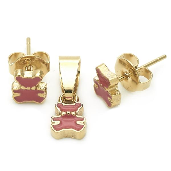 Gold Layered 10.64.0015 Earring and Pendant Children Set, Teddy Bear Design, Enamel Finish, Golden Tone