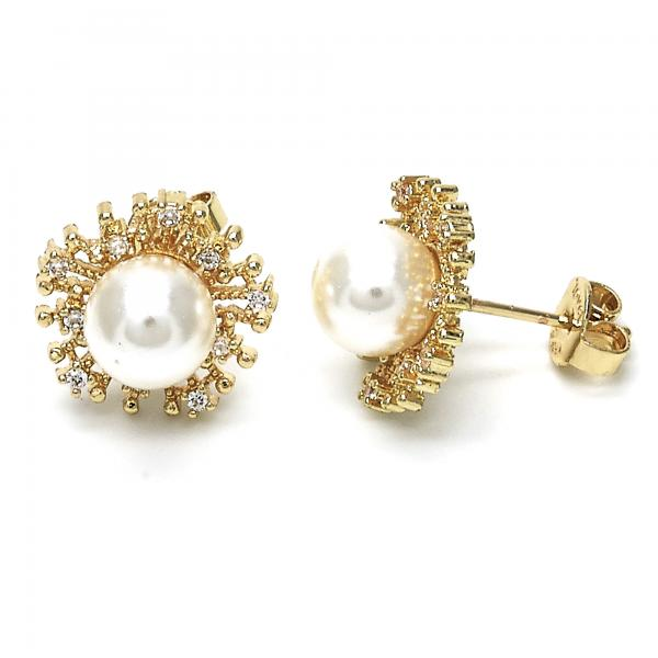 Gold Layered 02.156.0219 Stud Earring, Ball Design, with Ivory Pearl and White Cubic Zirconia, Polished Finish, Golden Tone