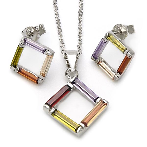 Sterling Silver 10.174.0167.18 Necklace and Earring, Multicolor Resin Finish, Silver Tone