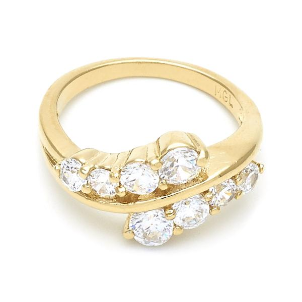 Gold Layered Multi Stone Ring, Cluster Design, with Crystal, Golden Tone