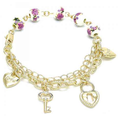 Gold Layered 03.179.0060.07 Charm Bracelet, Heart and key Design, Polished Finish, Golden Tone