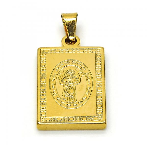 Stainless Steel 05.247.0007 Religious Pendant, Divino Niño Design, Polished Finish, Golden Tone