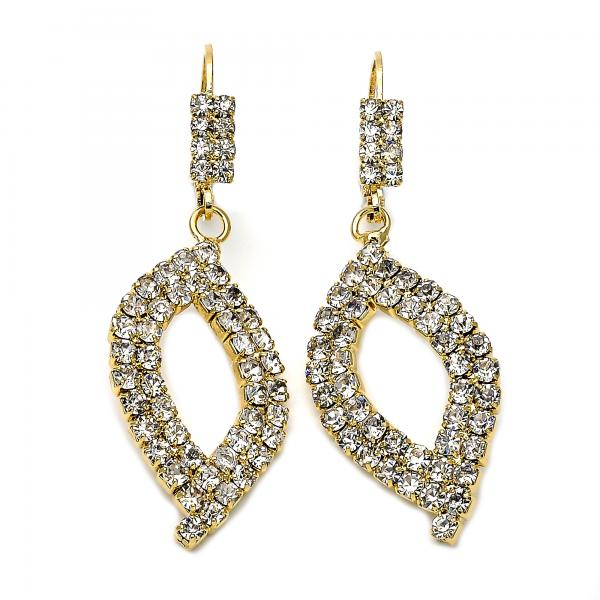 Gold Layered 5.091.008 Dangle Earring, with White Cubic Zirconia, Polished Finish, Golden Tone