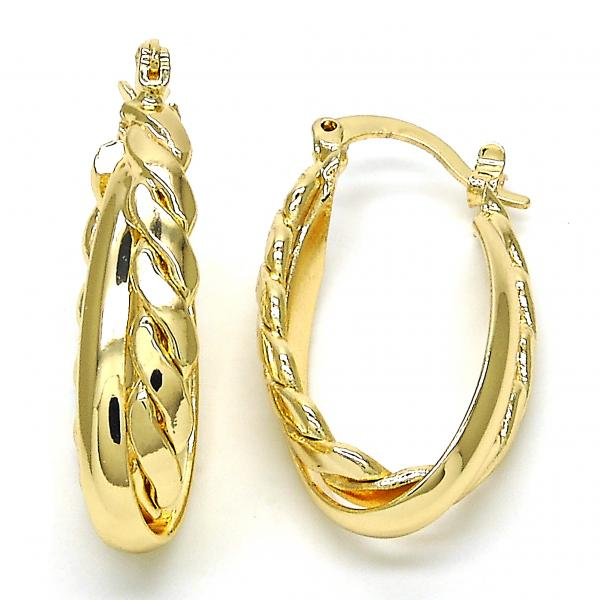 Gold Layered 5.142.021.15 Small Hoop, Twist Design, Polished Finish, Golden Tone