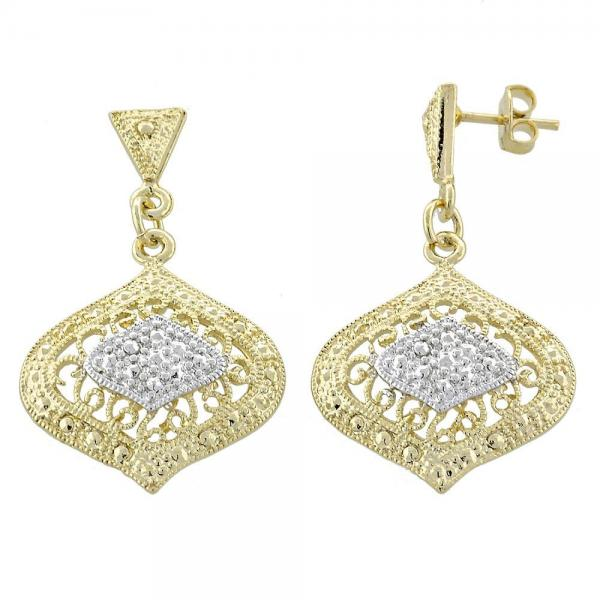 Gold Layered 02.55.0013 Dangle Earring, Filigree Design, Diamond Cutting Finish, Two Tone