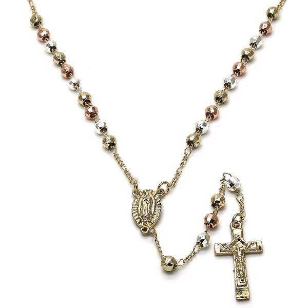 Gold Layered 09.253.0018.20 Thin Rosary, Guadalupe and Crucifix Design, Diamond Cutting Finish, Tri Tone