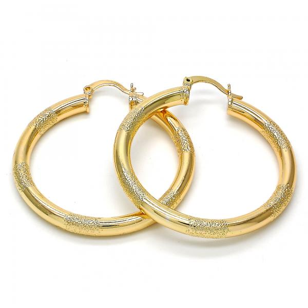 Gold Layered 02.170.0131.40 Medium Hoop, Hollow Design, Matte Finish, Golden Tone
