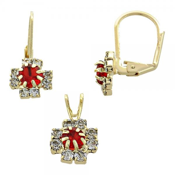 Gold Layered 5.058.012 Earring and Pendant Adult Set, Flower Design, with  Cubic Zirconia, Golden Tone