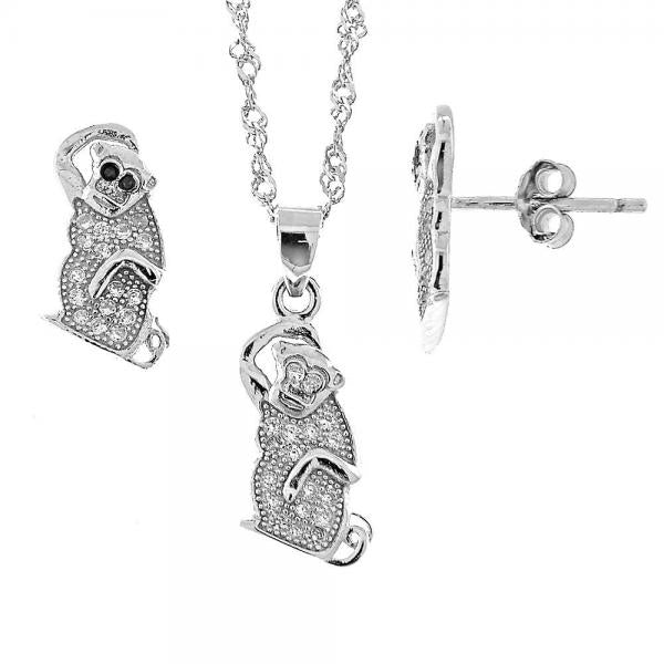 Sterling Silver 10.174.0057 Earring and Pendant Adult Set, with White Micro Pave, Rhodium Tone
