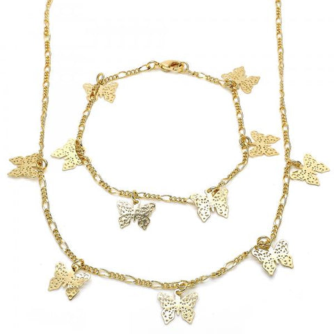 Gold Layered 06.63.0201 Necklace and Bracelet, Butterfly Design, Polished Finish, Golden Tone