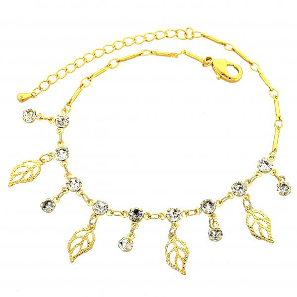 Gold Layered 03.63.1298.08 Charm Bracelet, Leaf Design, with White Cubic Zirconia, Diamond Cutting Finish, Golden Tone
