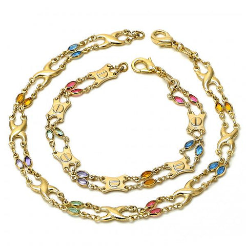 Gold Layered 04.63.1229 Necklace and Anklet, with Multicolor Crystal, Polished Finish, Golden Tone