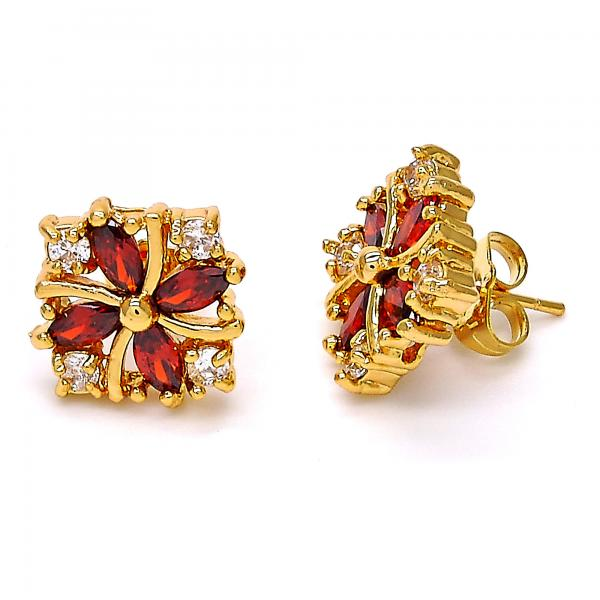 Gold Layered Stud Earring, Flower Design, with Cubic Zirconia, Gold Tone