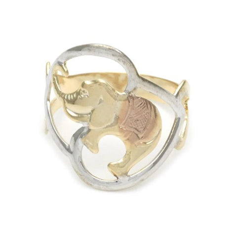 Gold Layered Elegant Ring, Elephant Design, Tri Tone