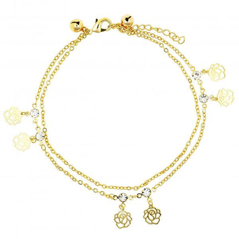 Gold Layered 03.60.0127.09 Charm Bracelet, Flower and Rattle Charm Design, with White Cubic Zirconia, Polished Finish, Golden Tone