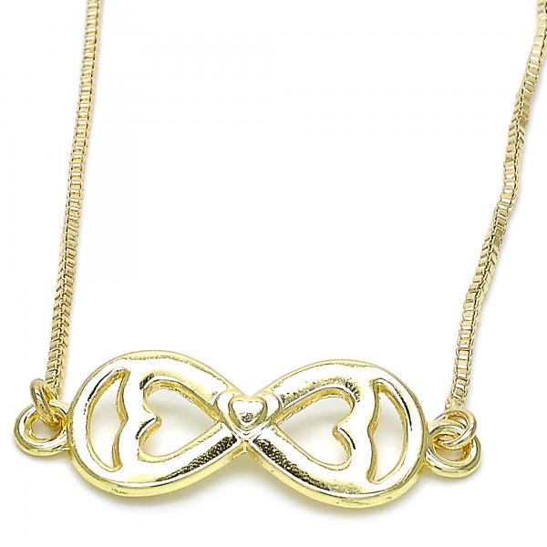 Gold Layered 04.63.1382.20 Fancy Necklace, Infinite and Heart Design, Polished Finish, Golden Tone