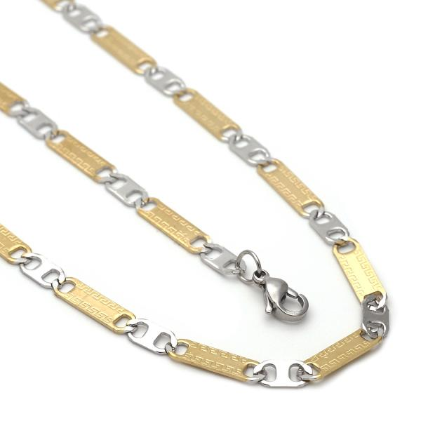 Stainless Steel 04.113.0041.24 Necklace and Bracelet, Greek Key Design, Diamond Cutting Finish, Two Tone