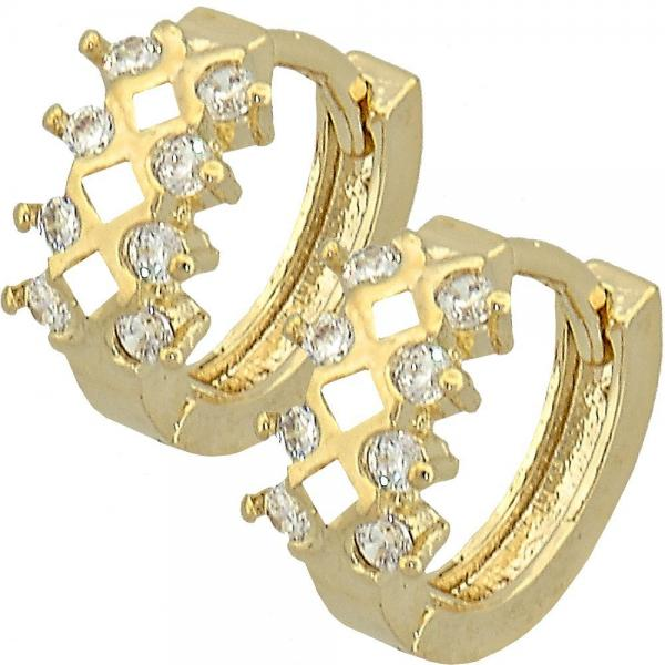 Gold Layered 02.165.0062 Huggie Hoop, with White Cubic Zirconia, Polished Finish, Golden Tone