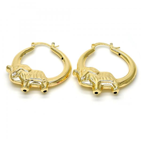 Gold Layered 02.100.0062.35 Medium Hoop, Elephant and Hollow Design, Polished Finish, Gold Tone