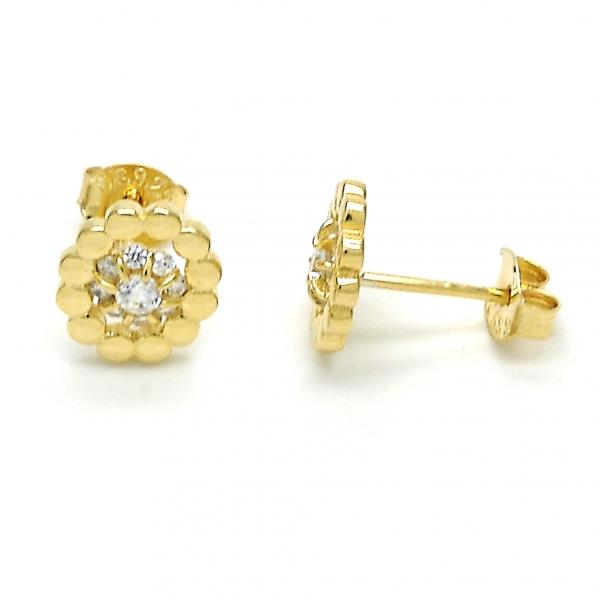 Sterling Silver 02.285.0053 Stud Earring, Flower Design, with White Cubic Zirconia, Polished Finish, Golden Tone