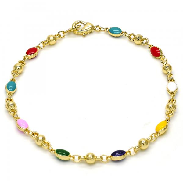 Gold Tone 03.213.0011.08.GT Fancy Bracelet, Multicolor Enamel Finish, Golden Tone