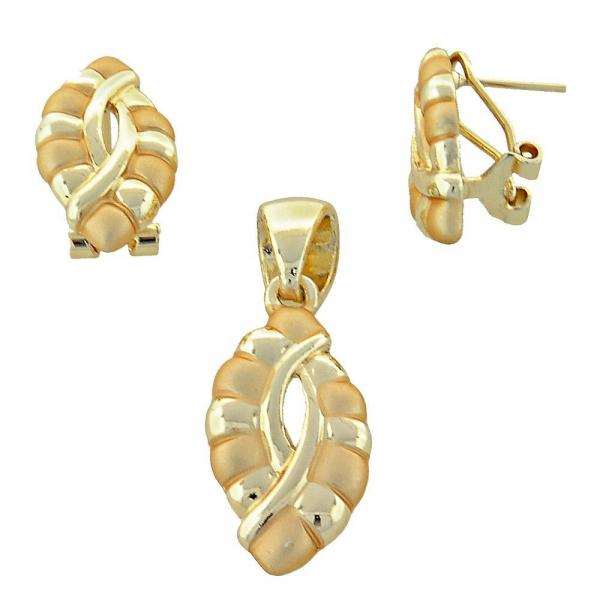 Gold Layered 10.59.0186 Earring and Pendant Adult Set, Golden Tone