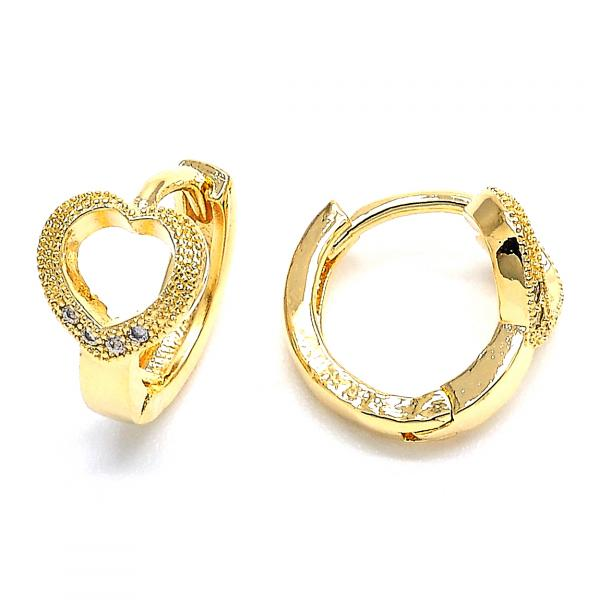 Gold Layered 02.168.0010 Huggie Hoop, Heart Design, with White Micro Pave, Polished Finish, Golden Tone