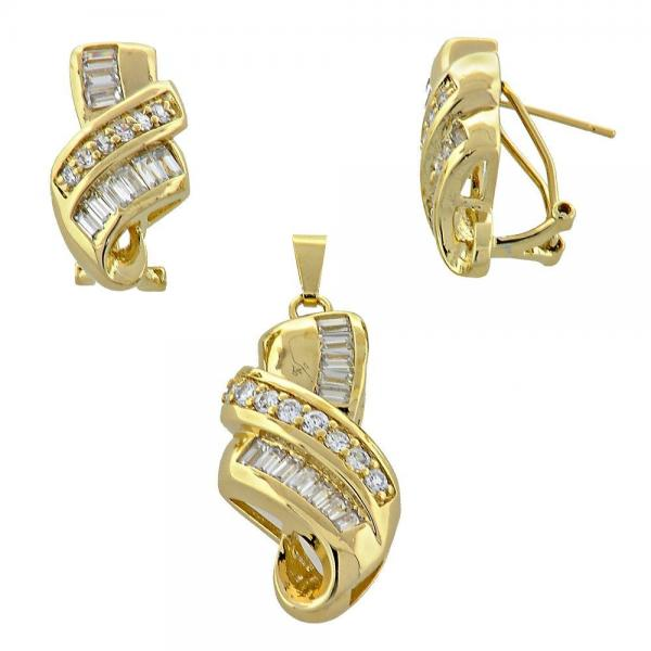 Gold Layered 5.054.002 Earring and Pendant Adult Set, with  Cubic Zirconia, Golden Tone
