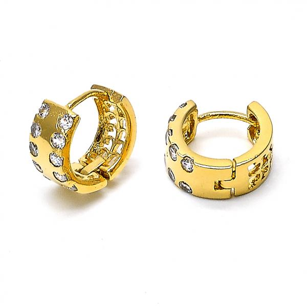 Gold Layered 5.131.016 Huggie Hoop, with White Cubic Zirconia, Polished Finish, Golden Tone