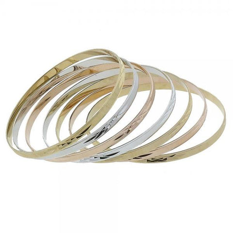 Gold Layered Semanario Bangle, Tri Tone