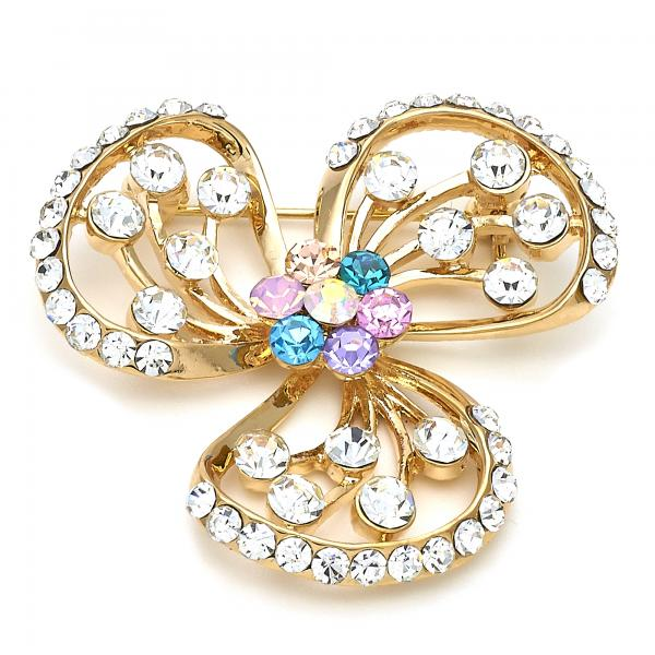 Gold Layered 13.181.0025 Basic Brooche, Flower Design, with Multicolor Crystal, Polished Finish, Golden Tone