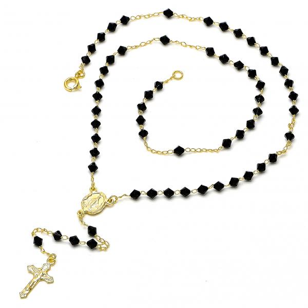Gold Layered 03.09.0044 Thin Rosary, Caridad del Cobre and Crucifix Design, with Black Azavache, Polished Finish, Golden Tone