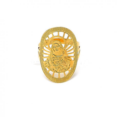 Gold Layered Elegant Ring, Virgen Maria Design, Golden Tone