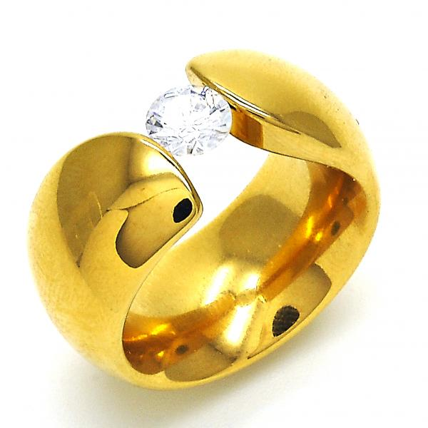 Stainless Steel Multi Stone Ring, with Cubic Zirconia, Golden Tone