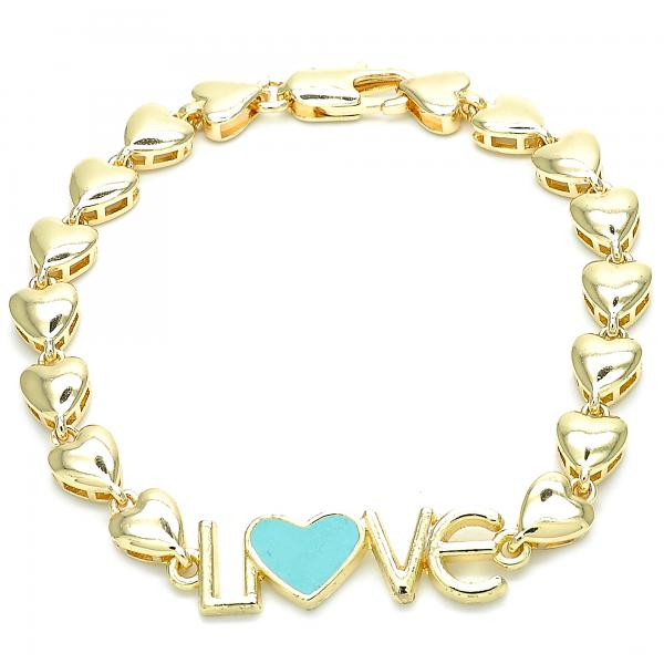 Gold Layered 03.63.1857.07 Fancy Bracelet, Love and Heart Design, Turquoise Enamel Finish, Golden Tone