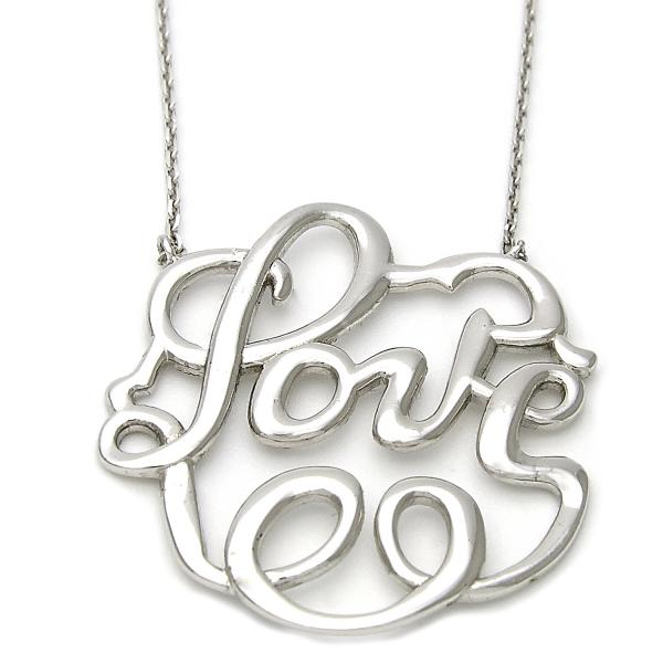 Sterling Silver 10.174.0180.18 Fancy Necklace, Love Design, Polished Finish, Silver Tone
