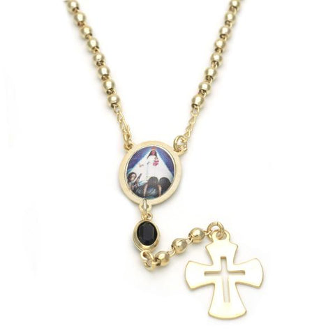 Gold Layered 09.02.0033.18 Thin Rosary, Caridad del Cobre and Cross Design, with Black Azavache, Polished Finish, Golden Tone
